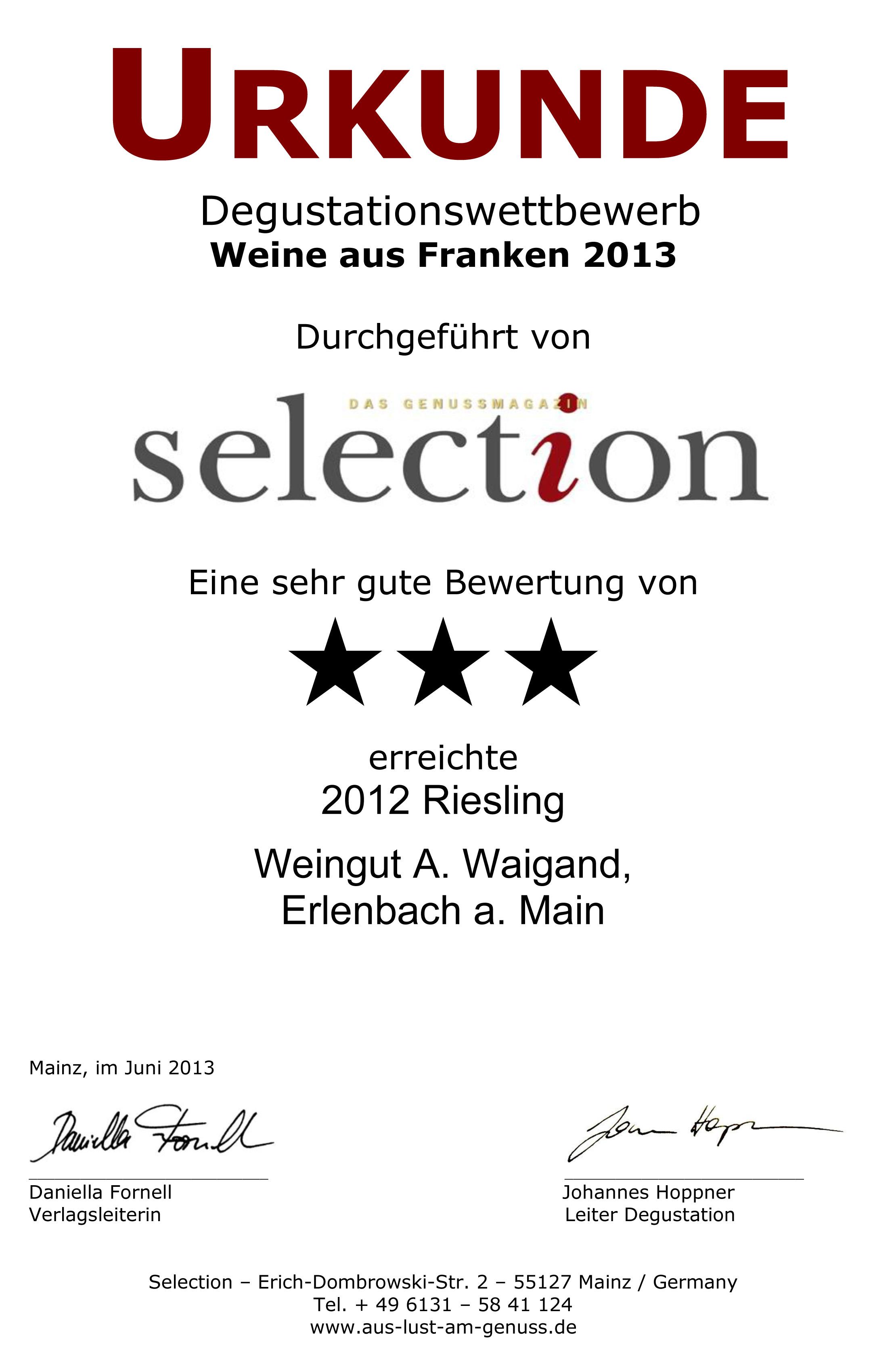 2012 Riesling Kabinett