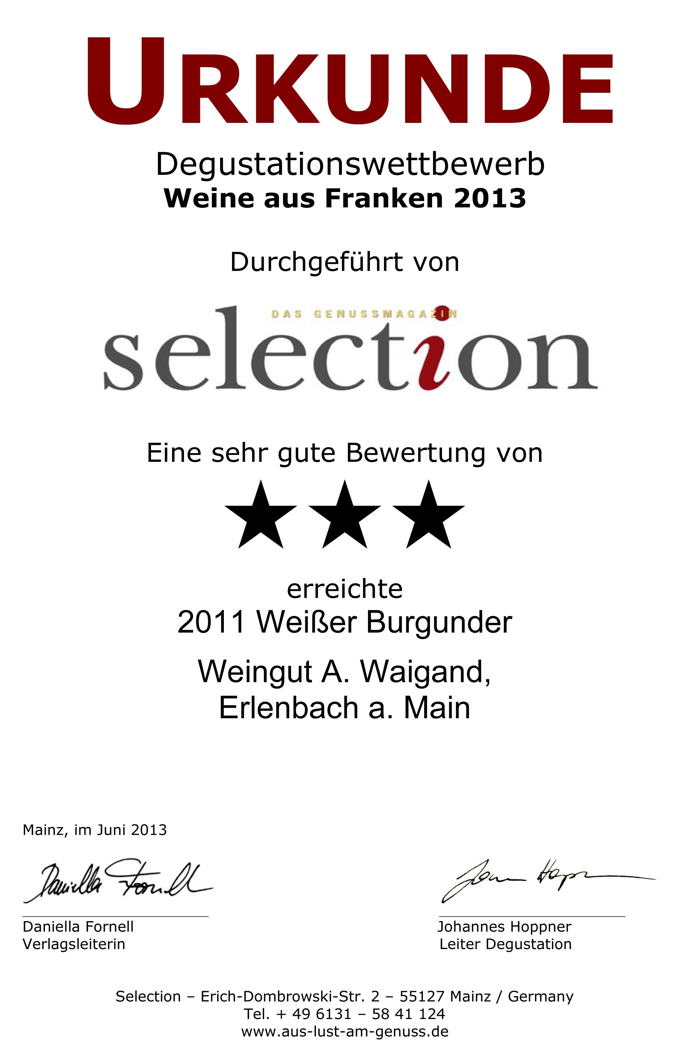 2011 Weißer Burgunder Spätlese