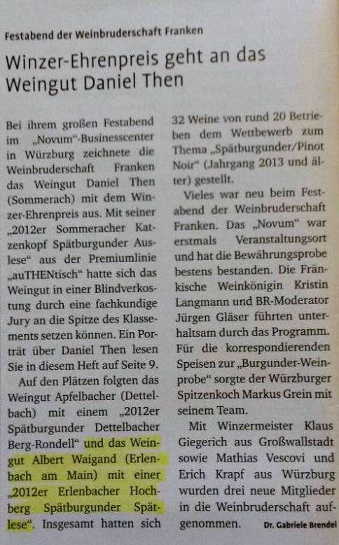 Winzer Ehrenpreis 3. Platz Weinbruderschaft 2015