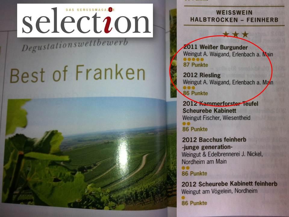 selection Degustationswettbewerb best of Franken 2013