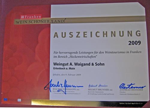 Franken Wein.Schöner.Land! Auszeichnungs-Urkunde für das Weingut A. Waigand